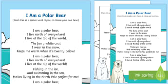 I am a Polar Bear Rhyme - winter, arctic, Antarctic, polar, polar bears, rhyme