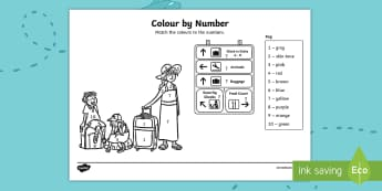 Up, Up and Away! Colour by Number Activity Sheet - worksheet, ROI, Aistear. Airport, Exploring my World, Story, aeroplane, airport, travel, tourism, ho