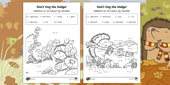 Don't Hog the Hedge! Addition to 10 Colour by Number - Twinkl Originals, Fiction, Autumn, Hibernate, Woodland, Animals, simple addition, adding, number bon