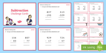 Maths Subtraction Differentiated Challenge Cards - Subtraction, 3-digit, 3 digit, 2 Digit, hundreds, Tens, Units, take away, minus, subtract,challange,