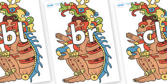Initial Letter Blends on Ah Puch - Initial Letters, initial letter, letter blend, letter blends, consonant, consonants, digraph, trigraph, literacy, alphabet, letters, foundation stage literacy