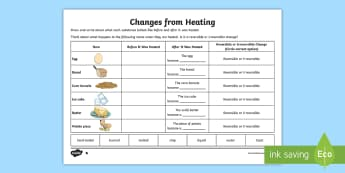 Changes from Heating Activity Sheet - ACSSU077, ACSSU018, ACSSU095, reversible, irreversible change, worksheet