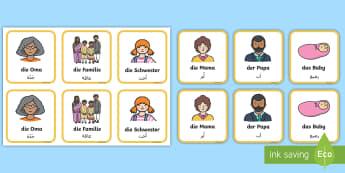 Deutsch-Arabische Meine Familie Memory Karten - Arabisch, deutsch lernen, meine Familie, Wortschatz, Kartenspiel, meine Eltern,German