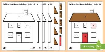 Basic Subtraction Picture Building House Activity - Basic Addition Picture Building House Activity - basic, addition, picture, building, house, activity