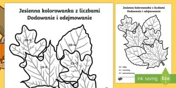 Jesienna kolorowanka z liczbami Dodawanie i odejmowanie do 20 - jesień, liść, matematyka, liczenie, liczby, kolorowanie