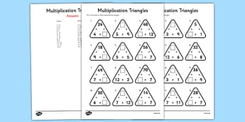 2 to 12 Times Tables Missing Number Activity Sheets - multiplication triangles, times table, times tables, worksheet,