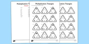 Multiplication Triangles Worksheet / Activity Sheet 2 to 12 Times Tables - multiplication triangles, times table, times tables, worksheet, arithmagons