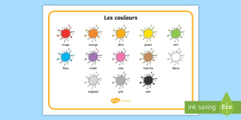 Set de mots : Les couleurs - Couleurs, colours, Cycle 1, word mat, set de mots, cycle 2,French