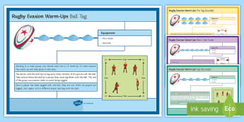Rugby: Evasion Warm-Up Cards - Rugby, KS3, warm up, evasion, skills,