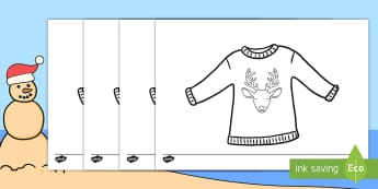 Christmas Jumper Colouring Pages - December, celebrate, fun, reindeer, takbok, Desember, EAL