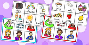 My Senses Bingo - senses, bingo, ourselves, ourselves games