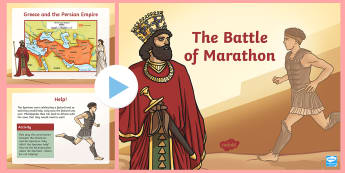 The Battle of Marathon Information PowerPoint - UKS2, LKS2, negative, positive, number, zero, forwards, backwards, context, calculate