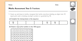 Year 3 Maths Assessment: Fractions Term 1 - fraction, numbers, assessment, Autumn Term Maths Assessment