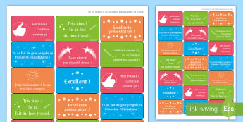 Time-Saving French Praise Phrases Marking Stickers - Reward, Praise, Feedback, marking, assessment, French, KS3, stickers,French