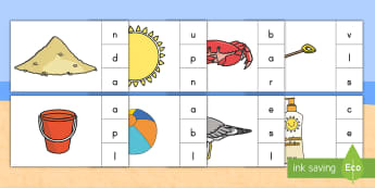 Beach Final Sounds Matching Game - Beach, Sea, Ocean, Final Sound, Clip Card, Final Sound Activity, Literacy Activity, Pre-K Literacy,