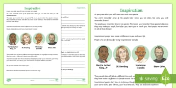 Inspiration Activity Sheet - young people, families, behaviour, thoughts, feelings, ambition, worksheet