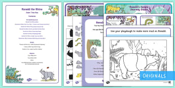 Ronald the Rhino Quiet Time Box - Rhinoceros, snake, cheetah. twinkl publishing, twinkl stories, twinkl fiction