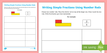 Writing Simple Fractions Using Number Rods Activity Sheet - Cuisenaire Rods, Number Rods, Fractions, Writing Fractions, KS2, Key Stage 2, Numerator, Denominator