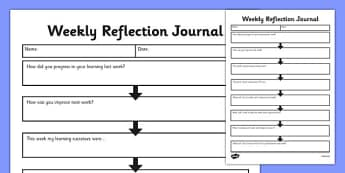 Weekly Reflection Journal - weekly work, reflection, journal, diary, log, assessment,