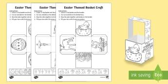 Easter Themed Basket Net - easter, basket, gift, present, treat, eggs, sweets, easter net, cube net