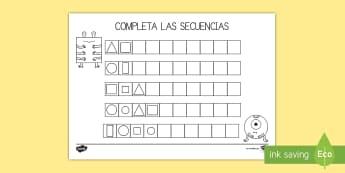 Ficha de actividad: Completar las secuencias - Figuras - figuras, secuencia, secuencias, repetir, repetición, patrón, patrones, completar, mates, matemáti