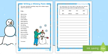 KS1 I Am Own Poem Activity Sheet - nouns, verbs, christmas, winter, seasons, poetry, writing a poem, worksheet