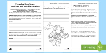 Exploring Deep Space: Problems and Possible Solutions Worksheet / Activity Sheet - Science and Technology, Deep Space, Junior, Grade 4, Grade 5, Grade 6, worksheet