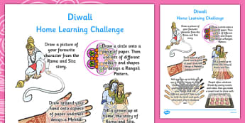 Diwali Home Learning Challenge Sheet Reception FS2 - eyfs, diwali, home learning, challenge, sheet