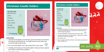 Christmas Candle Holders Craft Instructions - Christmas crafts, art, candles, decorative, Christmas fair