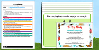 Minibeasts Playdough EYFS Busy Bag Plan and Resource Pack - butterfly, ladybird, spider, wasp, dragonfly, snail, Early Years planning