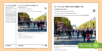 Car-Free Day GCSE Higher Tier Photo-Card French - Speaking, Photo, Environment, Traffic, Pollution, GCSE, Global Issues, Higher, Year 10, Year 11,