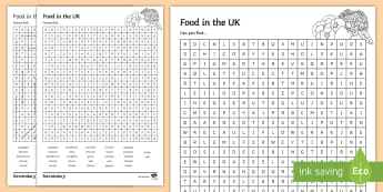 Grown in the UK Word Search  - produce, farm, farming, food, industry, primary,