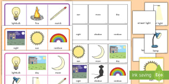 Light and Dark Matching Cards and Board Game - game, matching, light, dark, science