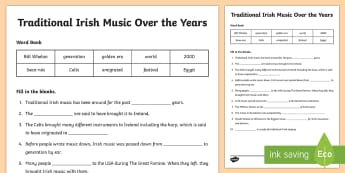 Traditional Irish Music Over the Years Cloze Worksheet / Activity Sheet - ROI - St. Patrick's Day Resources, Ireland, Irish, trad, music, traditional Irish music, culture, ,