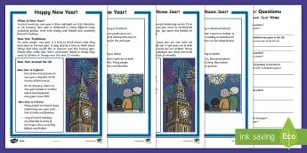 New Year Differentiated Reading Comprehension Activity English/Afrikaans - January, celebration, tradition, fireworks, vuurwerke, Januarie,EAL