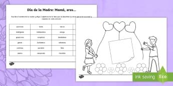 Tapiz de vocabulario: Mamá, eres ... Describiendo a mamá - Día de la Madre, Mother's Day in Spain, adjetivos, adjectives, descripción, description, tarjeta
