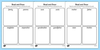 My Family Read and Draw Worksheet - my family, read, draw, activity, worksheet