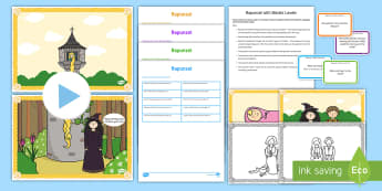 Rapunzel with Blanks Level Questions - Blanks Levels, Language for Thinking, receptive language, verbal reasoning, inference, speaking and