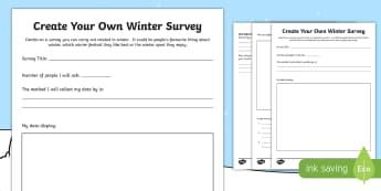 Create Your Own Winter Survey Activity Sheet - data handling, MNU 2-20b, MNU 2-21a, Worksheet, seasons, Information Handling,Scottish
