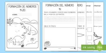 Cuadernillo de formación de números 11-20 de los dinosaurios Cuadernillo - Los dinosaurios, proyecto, transcurricular, seres vivos, estegosaurio, pterodáctilo, braquiosauro,