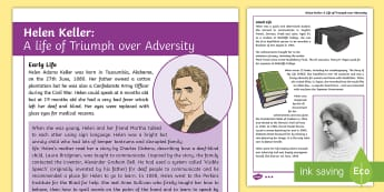 Helen Keller: KS2 Differentiated Fact File - helen keller, famous people, blind, deaf-blind, deaf, famous people