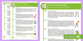 KS2 Take It Outside: STEM Teaching Ideas - Forest School, Nature Detectives, investigate, science, design and technology, outdoor, woodland learning, twinkl outdoor and woodland learning owl get it