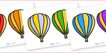 Editable Hot Air Balloons 2 per A4 Stripes - Hot air balloon, balloon, display, poster, editable, label, template, birthday display