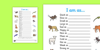 Simile Worksheet - similies, simile, similies worksheet, quick as a cricket, audrey wood, quick as a cricket by audrey wood, similies writing frame, smillie