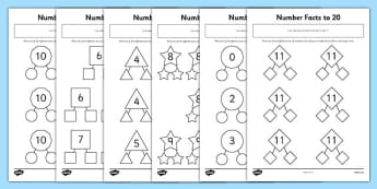 Number Facts to 20 Part Whole Activity Sheet Pack - number facts, 20, part, whole, activity, sheets, worksheet