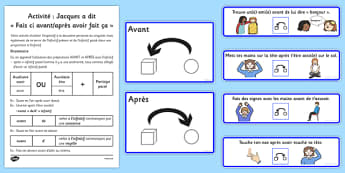 Activité: Jacques a dit Fais ci avant/après avoir fait ça French - french, before and after, simon says, actions