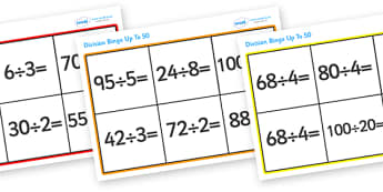 Division Bingo (Up To 100) - division, bingo, division bingo, dividing, divide, numbers, game, activity, up to 100, 100, practice, fun, Maths, numeracy, KS2