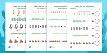 Under the Sea Subtraction Worksheet - numeracy, numbers, subtraction, under the sea, under the sea numeracy, under the sea subtraction, under the sea subtraction sheet, subtraction, minus