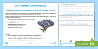 KS2 Winter Olympics Host City Bid Writing Activity Pack - English/Romanian - Pyeongchang, Y3, Y4, Y5, y6, 2018, sport, problem-solving, skiing, snowboarding, events, games, EAL