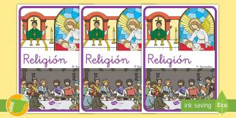 Separadores de álbumes: Religión - álbum, fin de curso, dividir, tapa de álbumes, tapas, asignaturas, trimestre,Spanish